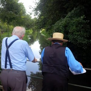 John Ruth and Sam Stoltzfus looking at the creek in Ohenheim.