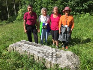 Wilmer Martin, Nancy Hess, Diane Gundersen and Marie Assad at the Schleitheim Monument