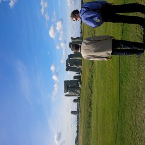 Caleb Miller discussing with Wilmer at Stonehenge