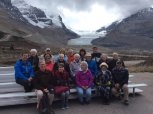 Group picture with the Athabasca Glacier in the background