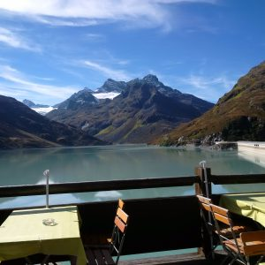 Enjoying the view at the top of the Silvretta Pass