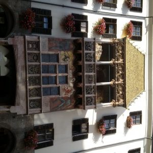 The famous Goldenes Dachl (golden roof) in Innsbruck, Austria is more than 500 years old