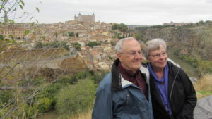 Jim and Elaine Gibbel across the river from Toledo, Spain.