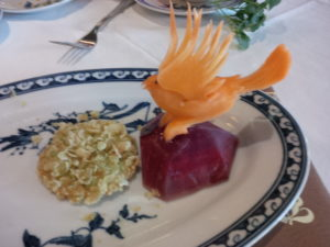 Beautiful carved edible bird at the farewell dinner