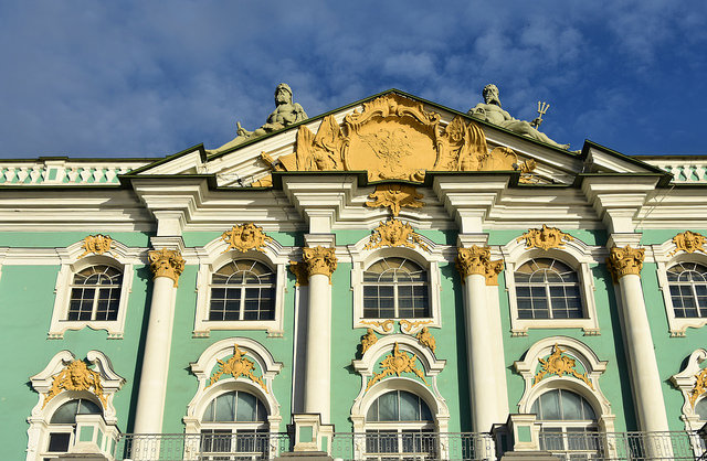 The Winter Palace in St. Petersburg, Russia as seen from the Neva, River.