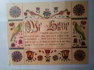 The Alexander Mack museum has a piece of fraktur art made by Roma, wife of John Ruth who used to lead this tour!
