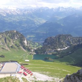 The view from the peak of the Stockhorn! In the foreground is the cafe at the top of the cable car route. The lake in the mid-ground is where I initially wandered off. The bottom of the cable car route is so far down it's not even visible.