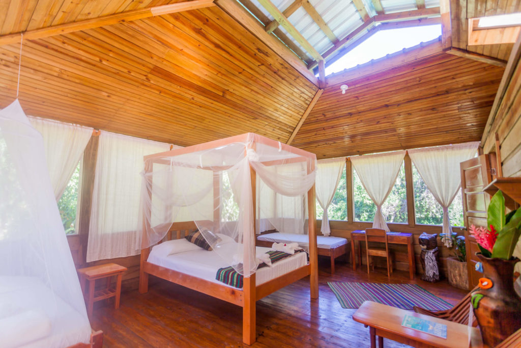 A light, airy room in the Jaguar Creek eco-lodge in Belize, Central America.