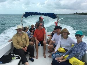 Group in a boat near Caye Caulker, Belize.